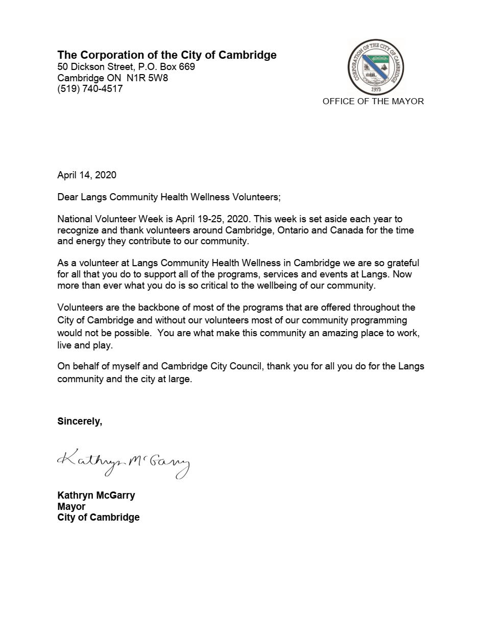 Mayor's Thank You to Volunteers